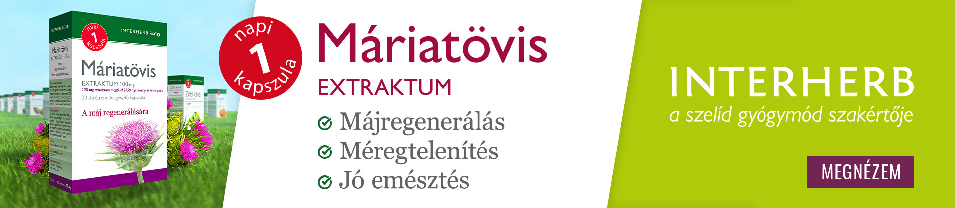 INTERHERB NAPI 1 MÁRIATÖVIS EXTRAKTUM KAPSZULA 30DB
